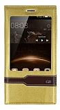 Huawei G8 Gizli Mıknatıslı Pencereli Gold Deri Kılıf