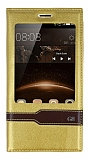 Eiroo Huawei G8 Gizli M�knat�sl� Pencereli Gold Deri K�l�f