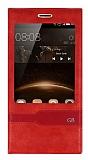 Huawei G8 Gizli Mıknatıslı Pencereli Kırmızı Deri Kılıf