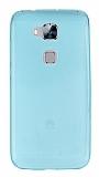 Huawei G8 Ultra İnce Şeffaf Mavi Silikon Kılıf