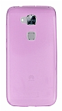 Huawei G8 Ultra İnce Şeffaf Pembe Silikon Kılıf