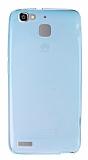 Huawei GR3 Ultra İnce Şeffaf Mavi Silikon Kılıf