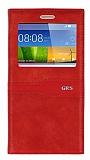 Eiroo Huawei GR5 Gizli Mıknatıslı Pencereli Kırmızı Deri Kılıf