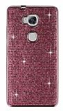Eiroo Huawei GR5 Taşlı Pembe Silikon Kılıf