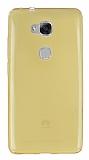 Eiroo Huawei GR5 Ultra İnce Şeffaf Gold Silikon Kılıf