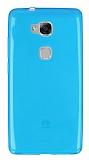 Huawei GR5 Ultra İnce Şeffaf Mavi Silikon Kılıf