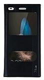Huawei P8 Lite Gizli Mıknatıslı Çift Pencereli Siyah Deri Kılıf