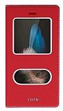 Huawei P8 Lite Gizli Mıknatıslı Çerçeveli Kırmızı Deri Kılıf