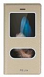 Huawei P8 Lite Gizli Mıknatıslı Çerçeveli Gold Deri Kılıf