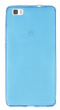 Huawei P8 Lite Ultra İnce Şeffaf Mavi Silikon Kılıf