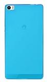 Eiroo Huawei P8max Ultra İnce Şeffaf Mavi Silikon Kılıf