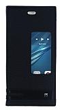Huawei P9 Gizli Mıknatıslı Pencereli Siyah Deri Kılıf