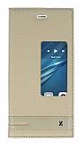 Eiroo Huawei P9 Gizli M�knat�sl� Pencereli Gold Deri K�l�f