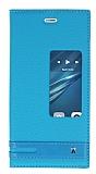 Huawei P9 Gizli Mıknatıslı Pencereli Mavi Deri Kılıf