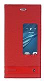 Eiroo Huawei P9 Gizli M�knat�sl� Pencereli K�rm�z� Deri K�l�f