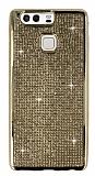 Eiroo Huawei P9 Taşlı Gold Silikon Kılıf