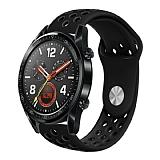 Eiroo Huawei Watch GT 2 Silikon Siyah Spor Kordon (46 mm)