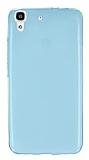 Huawei Y6 Ultra İnce Şeffaf Mavi Silikon Kılıf