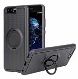 Eiroo Infinity Ring Huawei P10 Plus Selfie Yüzüklü Siyah Silikon Kılıf