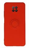 Eiroo Xiaomi Redmi Note 9 5G Yüzük Tutuculu Kırmızı Silikon Kılıf