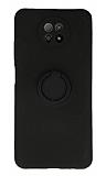 Eiroo Xiaomi Redmi Note 9 5G Yüzük Tutuculu Siyah Silikon Kılıf