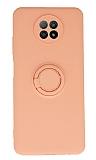 Eiroo Xiaomi Redmi Note 9 5G Yüzük Tutuculu Açık Pembe Silikon Kılıf