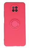 Eiroo Xiaomi Redmi Note 9 5G Yüzük Tutuculu Pembe Silikon Kılıf
