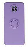 Eiroo Xiaomi Redmi Note 9 5G Yüzük Tutuculu Mor Silikon Kılıf