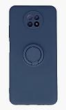 Eiroo Xiaomi Redmi Note 9 5G Yüzük Tutuculu Lacivert Silikon Kılıf