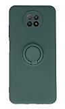 Eiroo Xiaomi Redmi Note 9 5G Yüzük Tutuculu Yeşil Silikon Kılıf