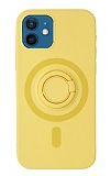 Eiroo iPhone 12 Mini 5.4 inç Yüzük Tutuculu Sarı Silikon Kılıf