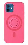 Eiroo iPhone 12 Mini 5.4 inç Yüzük Tutuculu Pembe Silikon Kılıf