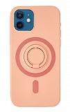 Eiroo iPhone 12 Mini 5.4 inç Yüzük Tutuculu Açık Pembe Silikon Kılıf