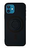 Eiroo iPhone 12 Mini 5.4 inç Yüzük Tutuculu Siyah Silikon Kılıf