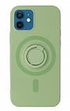 Eiroo iPhone 12 Mini 5.4 inç Yüzük Tutuculu Yeşil Silikon Kılıf