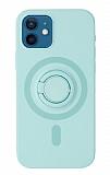 Eiroo iPhone 12 Mini 5.4 inç Yüzük Tutuculu Turkuaz Silikon Kılıf