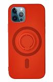 Eiroo iPhone 12 Pro Max 6.7 inç Yüzük Tutuculu Kırmızı Silikon Kılıf