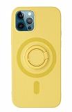 Eiroo iPhone 12 Pro Max 6.7 inç Yüzük Tutuculu Sarı Silikon Kılıf
