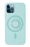 Eiroo iPhone 12 Pro Max 6.7 inç Yüzük Tutuculu Turkuaz Silikon Kılıf