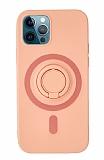 Eiroo iPhone 12 Pro Max 6.7 inç Yüzük Tutuculu Açık Pembe Silikon Kılıf