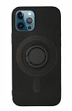 Eiroo iPhone 12 Pro Max 6.7 inç Yüzük Tutuculu Siyah Silikon Kılıf