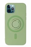Eiroo iPhone 12 Pro Max 6.7 inç Yüzük Tutuculu Yeşil Silikon Kılıf