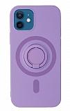 Eiroo iPhone 12 Mini 5.4 inç Yüzük Tutuculu Mor Silikon Kılıf
