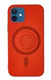 Eiroo iPhone 12 Mini 5.4 inç Yüzük Tutuculu Kırmızı Silikon Kılıf