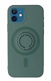 Eiroo iPhone 12 Mini 5.4 inç Yüzük Tutuculu Gri Silikon Kılıf