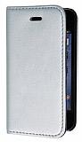 Eiroo iPhone 4 / 4S Gizli M�knat�sl� Standl� Silver Deri K�l�f