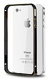 Eiroo iPhone 4 / 4S Gold �izgili Bumper �er�eve Siyah K�l�f