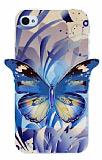 Eiroo iPhone 4 / 4S Mavi Kelebek Parlak Silikon K�l�f