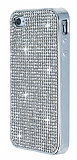 Eiroo iPhone 4 / 4S Taşlı Silver Silikon Kılıf