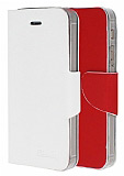 Eiroo iPhone 5 / 5S �ift Renk Kapakl� Beyaz ve K�rm�z� Deri K�l�f